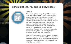 20 for 20 Smashrun badge, awarded for running every day for 20 days