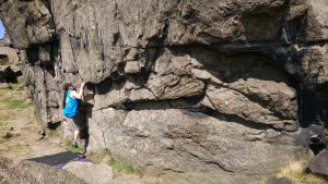 """Kneebar in place, marvel as I can't move at all.  Me on <a href=""""https://www.ukclimbing.com/logbook/c.php?i=231550>Witness The Gritness</a> at Higgar Tor.  Photo by Liz"""